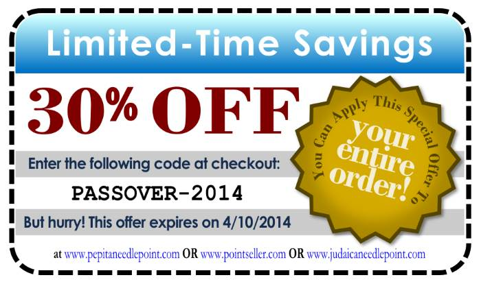 Coupon for needlepoint savings